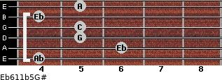 Eb6/11b5/G# for guitar on frets 4, 6, 5, 5, 4, 5