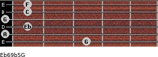 Eb6/9b5/G for guitar on frets 3, 0, 1, 0, 1, 1