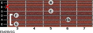 Eb6/9b5/G for guitar on frets 3, 6, 3, 5, x, 5