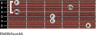 Eb6/9b5sus4/A for guitar on frets 5, 3, 3, 1, 4, 1