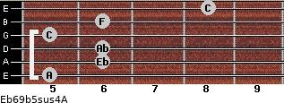 Eb6/9b5sus4/A for guitar on frets 5, 6, 6, 5, 6, 8