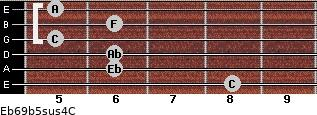 Eb6/9b5sus4/C for guitar on frets 8, 6, 6, 5, 6, 5