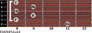 Eb6/9#5sus4 for guitar on frets 11, 8, 9, 8, 9, 8