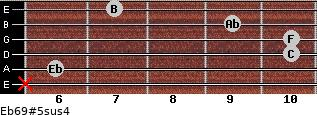 Eb6/9#5sus4 for guitar on frets x, 6, 10, 10, 9, 7