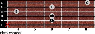 Eb6/9#5sus4 for guitar on frets x, 6, 6, 4, 6, 8