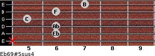 Eb6/9#5sus4 for guitar on frets x, 6, 6, 5, 6, 7