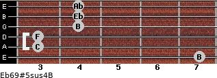Eb6/9#5sus4/B for guitar on frets 7, 3, 3, 4, 4, 4