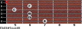 Eb6/9#5sus4/B for guitar on frets 7, 6, 6, 5, 6, x