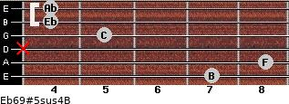 Eb6/9#5sus4/B for guitar on frets 7, 8, x, 5, 4, 4