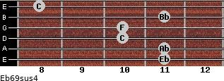 Eb6/9sus4 for guitar on frets 11, 11, 10, 10, 11, 8