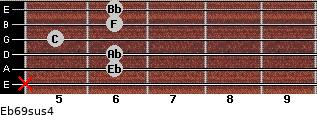 Eb6/9sus4 for guitar on frets x, 6, 6, 5, 6, 6