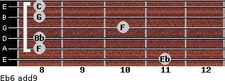 Eb6(add9) for guitar on frets 11, 8, 8, 10, 8, 8