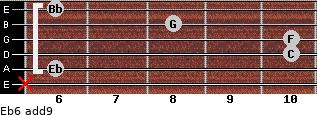 Eb6(add9) for guitar on frets x, 6, 10, 10, 8, 6