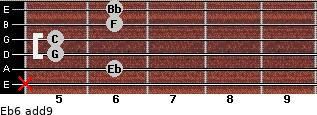 Eb6(add9) for guitar on frets x, 6, 5, 5, 6, 6
