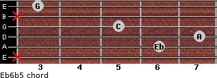 Eb6b5 for guitar on frets x, 6, 7, 5, x, 3