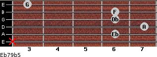 Eb7/9(b5) for guitar on frets x, 6, 7, 6, 6, 3