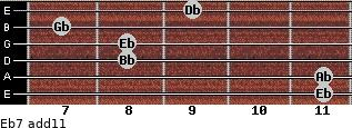 Eb-7(add11) for guitar on frets 11, 11, 8, 8, 7, 9