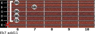 Eb-7(add11) for guitar on frets x, 6, 6, 6, 7, 6