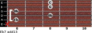 Eb7(add13) for guitar on frets x, 6, 8, 6, 8, 8