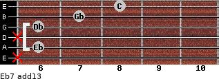 Eb-7(add13) for guitar on frets x, 6, x, 6, 7, 8