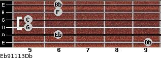 Eb9/11/13/Db for guitar on frets 9, 6, 5, 5, 6, 6