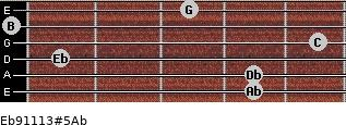 Eb9/11/13#5/Ab for guitar on frets 4, 4, 1, 5, 0, 3