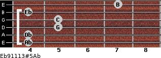 Eb9/11/13#5/Ab for guitar on frets 4, 4, 5, 5, 4, 7