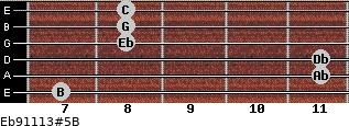 Eb9/11/13#5/B for guitar on frets 7, 11, 11, 8, 8, 8