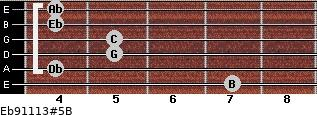 Eb9/11/13#5/B for guitar on frets 7, 4, 5, 5, 4, 4