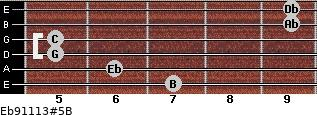 Eb9/11/13#5/B for guitar on frets 7, 6, 5, 5, 9, 9