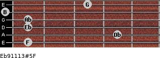 Eb9/11/13#5/F for guitar on frets 1, 4, 1, 1, 0, 3
