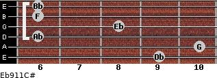 Eb9/11/C# for guitar on frets 9, 10, 6, 8, 6, 6