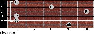 Eb9/11/C# for guitar on frets 9, 6, 6, 10, 8, 6