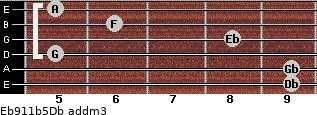 Eb9/11b5/Db add(m3) guitar chord