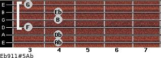 Eb9/11#5/Ab for guitar on frets 4, 4, 3, 4, 4, 3