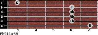 Eb9/11#5/B for guitar on frets 7, 6, 6, 6, 6, 3