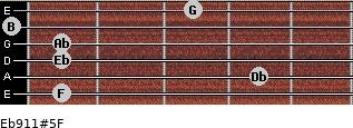 Eb9/11#5/F for guitar on frets 1, 4, 1, 1, 0, 3