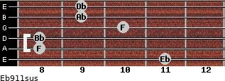 Eb9/11sus for guitar on frets 11, 8, 8, 10, 9, 9