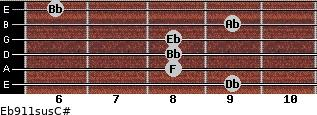 Eb9/11sus/C# for guitar on frets 9, 8, 8, 8, 9, 6