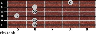 Eb9/13/Bb for guitar on frets 6, 6, 5, 6, 6, 8