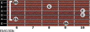 Eb9/13/Db for guitar on frets 9, 6, 10, 10, 8, 6