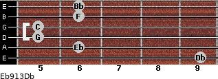 Eb9/13/Db for guitar on frets 9, 6, 5, 5, 6, 6