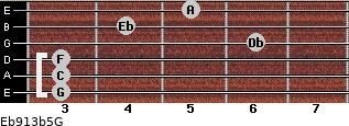 Eb9/13b5/G for guitar on frets 3, 3, 3, 6, 4, 5
