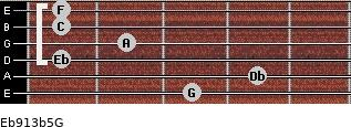 Eb9/13b5/G for guitar on frets 3, 4, 1, 2, 1, 1