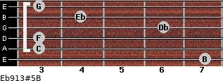 Eb9/13#5/B for guitar on frets 7, 3, 3, 6, 4, 3