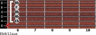 Eb9/11sus for guitar on frets x, 6, 6, 6, 6, 6