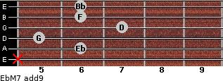 EbM7(add9) for guitar on frets x, 6, 5, 7, 6, 6