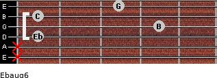 Ebaug6 for guitar on frets x, x, 1, 4, 1, 3