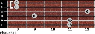 Ebaug6/11 for guitar on frets 11, 11, 9, 12, 8, 8