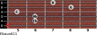 Ebaug6/11 for guitar on frets x, 6, 6, 5, 8, 7